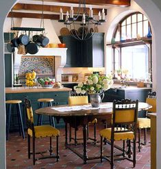 Decorating With Yellow  Like a squeeze of fresh lemon, the classic color yellow livens up any room.    http://www.myhomeideas.com/decorating/color/decorating-with-yellow-10000001647299/kitchen-chairs-yellow-cushions-10001391417121/