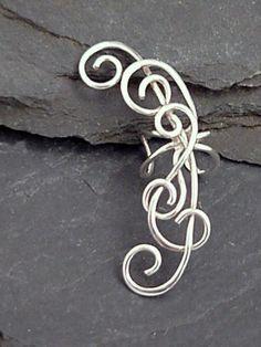 Very graceful! EAR CUFF - EXUBERANT Handfabricated Sterling Ear Cuff Wrap #wirewrappedringsband