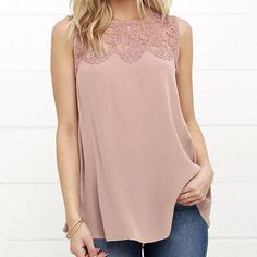 Hollow Out Solid Chiffon Lace Floral O-Neck Tank Tops