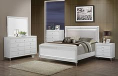 Catalina Bedroom in White by Global w/Optional Casegoods