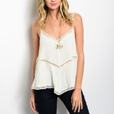 White Boho Tank White Boho Crochet Netted Tank. Flowy Silhouette Fit, V-cut Neckline, Crochet netting cutouts throughout. 100%Rayon.   Sizes available: S,M,L    *Let me know which size you'd like, and I will create you a new listing* Thank you, Xo Tops Tank Tops