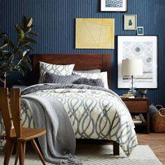 Dark wood bed decor west elm ideas for 2019 Dark Wood Bed, Dark Wood Furniture, Modern Furniture, Dark Blue Bedrooms, Blue Rooms, Bedroom Styles, Bedroom Colors, Home Bedroom, Bedroom Decor