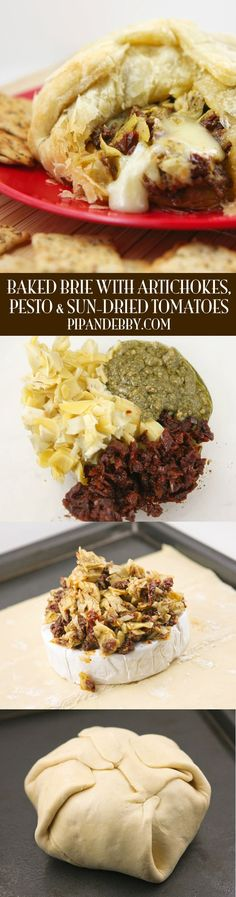 baked brie with artichokes sun dried tomatoes and pesto baked brie ...