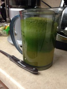 Jade juice:  2 cups kale 2 cups spinach 3 kiwis 3 green apples 1 cucumber 1 lemon 1 lime  Put in freezer for ten mins to chill.   Makes approximately 30 oz.  Half the portions for one person. I make enough to share!!!   A refreshing chaser after a 1.5 mile jog!