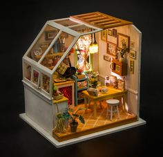 Miniature Wooden Kitchen DIY Doll House with Furniture Miniature Rooms, Miniature Kitchen, Miniature Crafts, Miniature Houses, Miniature Furniture, Dollhouse Furniture, Dollhouse Toys, Wooden Dollhouse, Dollhouse Miniatures