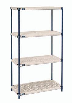 Nexelite Plastic Mat 4 Shelf Shelving Unit Starter