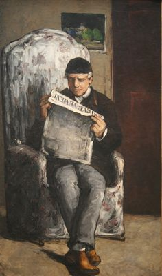 """The Artist's Father, Reading """"L'Evenement"""", oil on canvas, 1866, Paul Cezanne (French, 1839-1906), National Gallery of Art, Washington DC., 2012"""