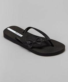 576c6575226354 This Black Glitter Bow Flip-Flop is perfect!  zulilyfinds Glitter Flip Flops