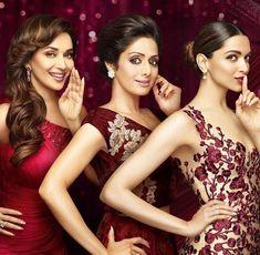Cinema ©: Three Divas of Indian Cinema - Madhuri Dixit, Sridevi, and Deepika Padukone. Bollywood Hairstyles, Bollywood Outfits, Bollywood Fashion, Bollywood Heroine, Beautiful Bollywood Actress, Madhuri Dixit, Bollywood Stars, Bollywood Images, Vintage Bollywood