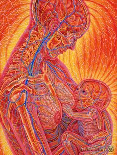 """Nursing"" by Alex Grey The bonding of mother and child is a miraculous outpouring of unobstructed love channeled through the mortal coil. Nursing is the physical bond of nourishment – mother is the first meal, she is the key to life. Between mother and child, there are also bio-electromagnetic bonds, emotional and psychic bondings, and ultimately the spiritual bond that brought them together."