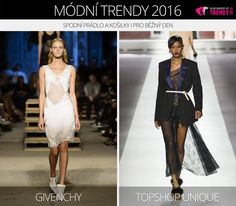 Módní trendy 2016 – spodní prádlo a košilky i pro běžný den. (Zleva: Givenchy a Topshop Unique.)