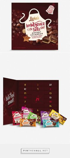 Chocolate advent calendar, classic yet delicious. Livia's Indulgence With Bells On contains chocolates made from natural ingredients making the treat dairy and gluten free. The packaging is a chocolate brown box with a door on the front that opens to reveal the 24 small compartments for the treats. There logo is printed as a white apron on the cover with gold and red text with a bell on the upper right corner with a vegan label.  Designed by Livia