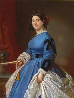 Portrait of a Lady in a Blue Dress, signed and dated A. Hopfgarten 1866 | In the Swan's Shadow