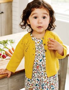 Cozy Baby Cardigan Fall @ Boden! Love this dress and sweater!