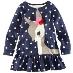 Kids-Girls-Long-Sleeve-Lace-Dress-One-piece-Deer-Cotton-Skirt-Shirt-Dress-B80