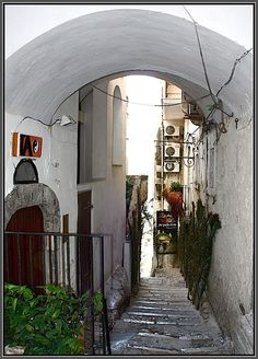 Retail Stores on Narrow Street in Peschici, Italy