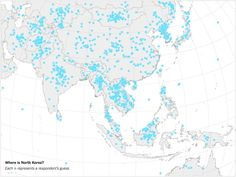 Each dot represents a US adult guess about the location of North Korea . Browse new photos about Each dot represents a US adult guess about the location of North Korea . Most Awesome Funny Photos Everyday! Political Speeches, Human Geography, Good Citizen, Think Deeply, Nuclear War, Foreign Policy, New Perspective, North Korea, Ny Times