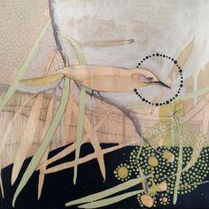 Red Cheeked Honeyeater and Acacia artist: dana kinter Love Illustration, Australian Artists, Art Design, Tree Collage, Painting Inspiration, Painting, Texture Art, Beautiful Art, Bird Art