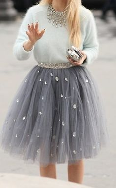 Love the grey tulle skirt - maybe make a mini version for L.