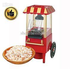 Domestic Nostalgia Electric Mini Carriage Shape Hot Air Popcorn Maker Popcorn Machine with EU Plug Red