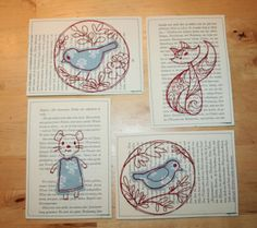 Bestickte Postkarten aus Buchseiten / Embroidered bookpages become postcards / Upcycling