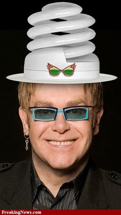 688897c14ad Elton John Wearing an Energy Saving Hat. National Hat Day pictures.  Advanced Photoshop Contest