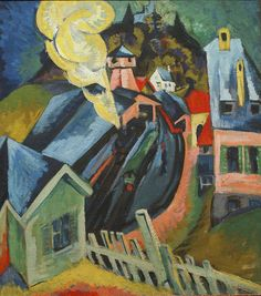 Bahnhof Königstein (Königstein Station) 1917.  Ernst Ludwig Kirchner (1880-1938) was a German expressionist painter and printmaker and one of the founders of the artists group Die Brücke