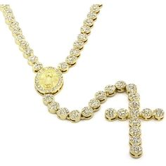 """Iced Out 36"""" Gold Rosary Cluster Simulated Diamond Chain Necklace... ($33) ❤ liked on Polyvore featuring jewelry, necklaces, gold necklace, cluster necklace, gold chain necklace, gold jewelry and 14k cross necklace"""