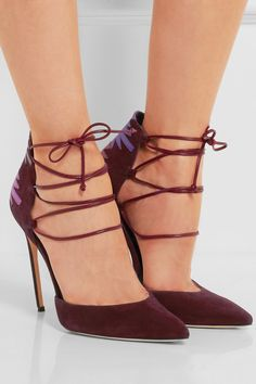 Heel measures approximately 120mm/ 5 inches Burgundy suede, magenta, purple and plum leather Lace-up front Made in Italy
