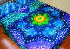 Hand Dyed Queen Sheet Set Mandala Tie Dye by Wildflowerdyes