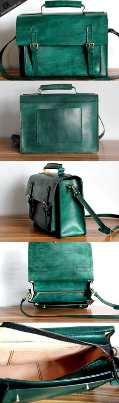 Handmade green leather satchel bags shoulder bag crossbody bag for women