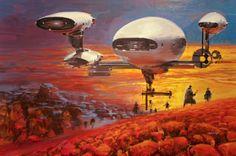 Spacecraft and science fiction-themed artwork by the late John Berkey John John, Concept Ships, Concept Art, John Berkey, Arte Sci Fi, 70s Sci Fi Art, Science Fiction Art, Sci Fi Fantasy, Space Fantasy