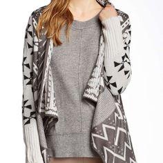Draped Aztec Cardigan 26 inch shortest length 35 inch longest length - ribbed trim Love Token Sweaters Cardigans