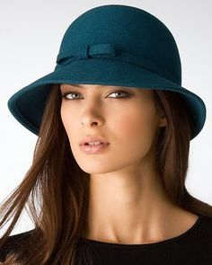 Bloomingdale's Aqua Cloche Hat with Bow on shopstyle.com