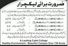 Required Lecturer (Cadet College Kalarkahar) | New Jobs Portal