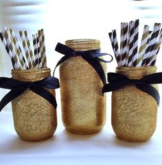 Black and Gold Mason Jar Centerpiece Set, Gold Glitter Mason Jars and Paper Straws