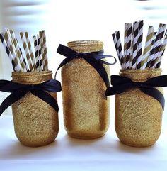 Black and Gold Mason Jar Centerpiece Set, Gold Glitter Mason Jars and Paper Straws
