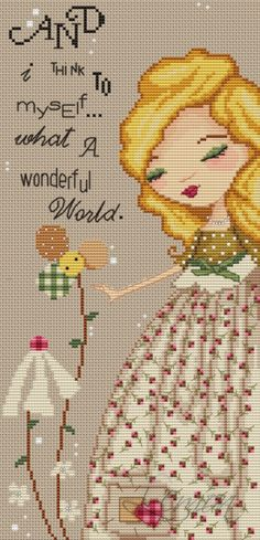 Pretty little cross stitch with lovely song lyric.  #cross_stitch #flowers