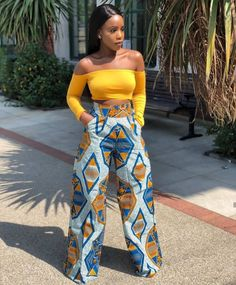 model of wide pants in African fabric, example women& trousers in wax . African Fashion Designers, African Inspired Fashion, African Print Fashion, Africa Fashion, African Print Dresses, African Fashion Dresses, African Dress, Fashion Outfits, Ankara Fashion