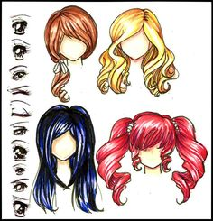Manga/Anime Eyes and Hair. colored by *Lettelira on deviantART
