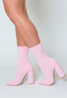 Buy & sell new, pre-owned & vintage fashion Esme Block Heel Sock Boots in Pastel Pink Lycra Fancy Shoes, Pretty Shoes, Crazy Shoes, Dr Shoes, Me Too Shoes, Shoes Heels, Pink Heels Outfit, Socks And Heels, High Heel Boots