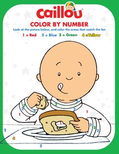 Caillou's Color by Number Activity – Thanksgiving Fun!