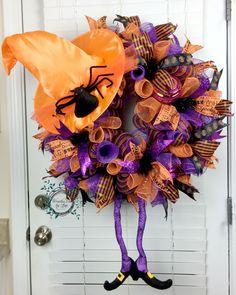 Deco Mesh Halloween Wreath - Spider Witch Hat Wreath - Spider Hat - Witch…