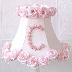 Personalized Monogram Pink Lamp Shade with Roses $139.00 #thebellacottage #PINK