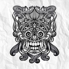 Traditional Balinese mask of the terrible mythical defender Animal Mandala Tattoo, Mandala Tattoo Men, Geometric Tattoo Arm, Mandala Tattoo Design, Buddhist Symbol Tattoos, Hindu Tattoos, Aztec Tattoo Designs, Polynesian Tattoo Designs, Balinese Tattoo
