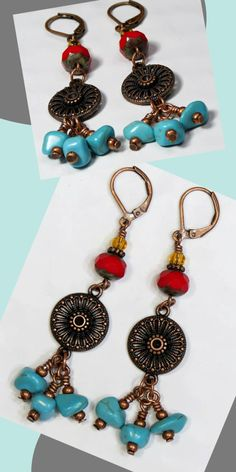 Bohemian Long Boho Earrings - Glass Bead - Turquoise Red Copper - Dangle Drop - Bohemian Luxe Fashion - Fun Festival Gypsy Summer jewelry - Leverback