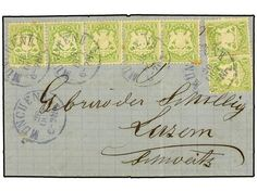 ALEMANIA ANTIGUOS ESTADOS: BAVIERA. 1872 (Oct 28). Entire letter to LUCERNE (Switzerland) franked by rare usage of 1870 1kr. yellow green (7, including a remarkable use of a horizontal strip of five) all tied by MUNICH cds?s in blue. Some peripheral toning and horizontal file fold affecting one stamp but a very rare franking. Certificate VAN DER LINDEN and BRETTL. Michel 22Xa.  Dealer SOLER Y LLACH  Auction Minimum Bid: 600.00EUR