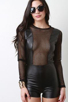 Fishnet And Vegan Leather Long Sleeves Romper