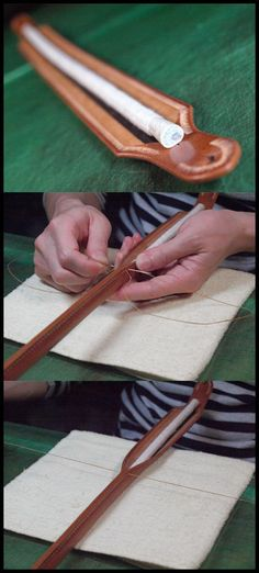 ロープ芯を中央に接着し巻き込みながら縫い合わせてゆきます。