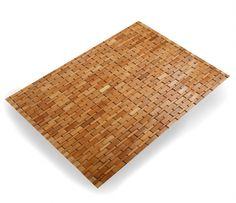 Badezimmer hausratplus Badvorleger aus Bambus Holz Badematte 88x60 honigfarben